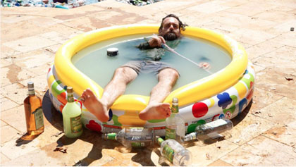 Will Forte in a pool