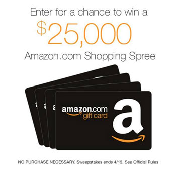 Amazon $25 000 gift card sweepstakes and giveaways