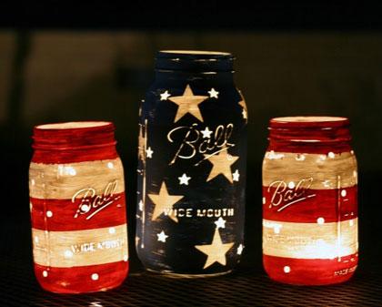 Patriotic DIY Mason Jar Lanterns
