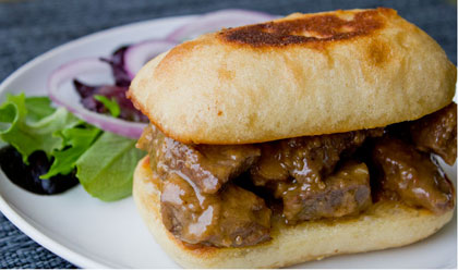 Caramelized Onion Cheese Steak Sandwich