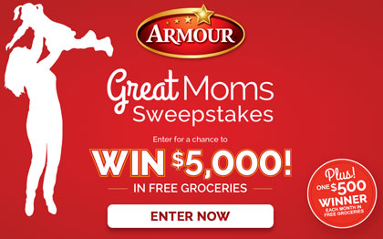 Armour Great Moms Sweepstakes: Win a $5,000 check!