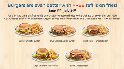IHOP: Get Free Fry Refills with any Burger